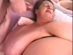 biggest tit fat granny plays with young men