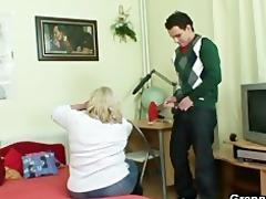 giant granny tastes his knob then doggystyled