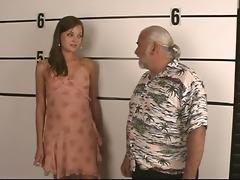 arrested juvenile brunette strips for old dude
