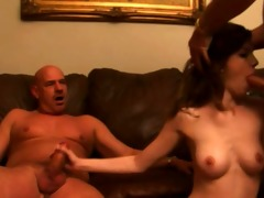 cute brunette fucks old men for cash
