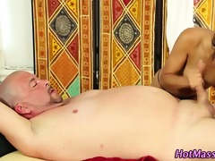 massage cook jerking with oral-job sex